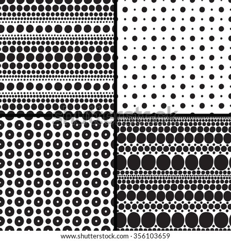 Set seamless patterns with balls - stock vector