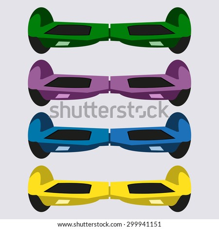 Set 4 Self-balancing electric scooters vector - stock vector
