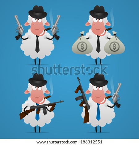 Set sheep gangster in different poses - stock vector