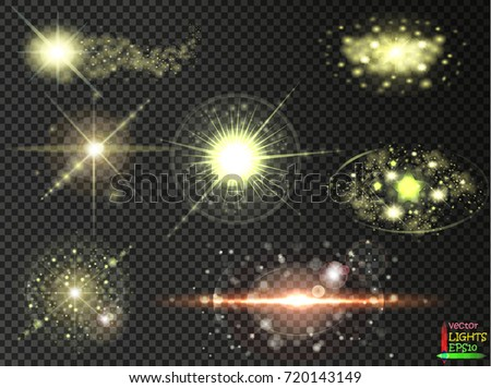Set. Shining star, the sun particles and sparks with a highlight effect.