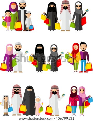 Set shopping concept with arab people in colorful style. Vector illustration arabian man and woman, arab family in the shop.