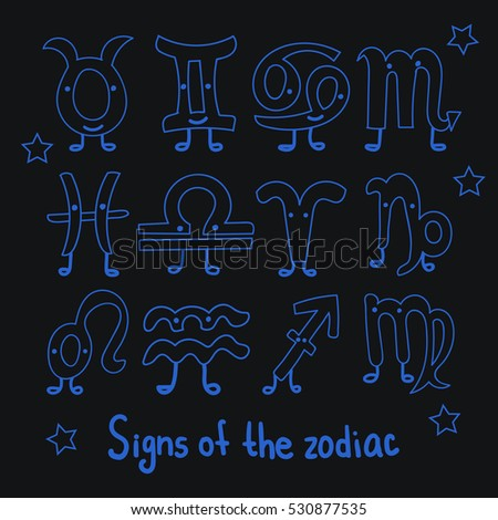 Set Signs of the zodiac. Horoscope hand drawing. Lovely characters with eyes and legs. The blue outline hand drawing isolated on a black background. Astrology.