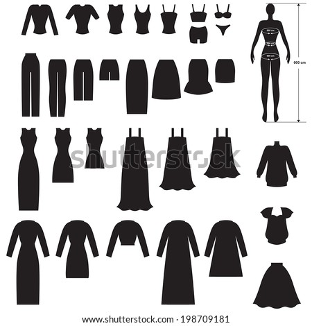 Set silhouette image of woman's clothing