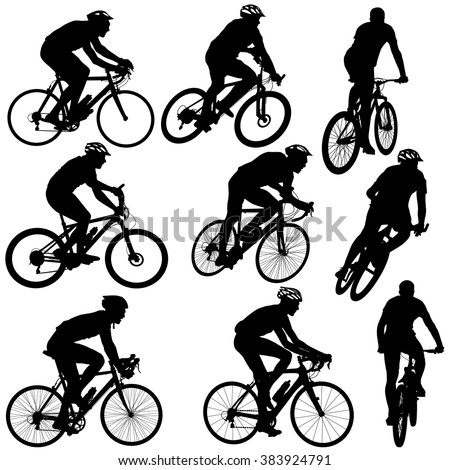 Set silhouette of a cyclist male and female.  vector illustration. - stock vector