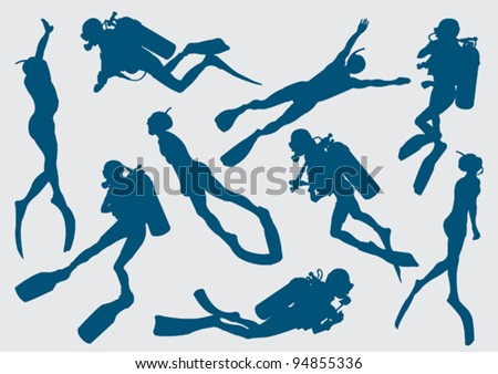 Set silhouette of diver and free diver