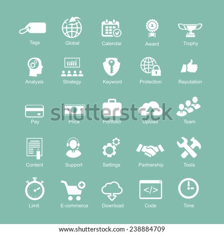 Set  silhouetted white SEO and internet icons for optimising  a website on a computer - stock vector