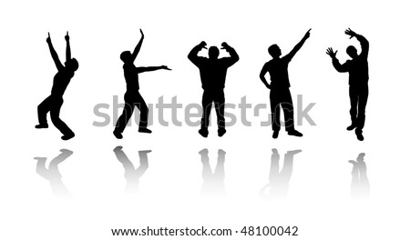Set silhouettes of dancing guys - stock vector