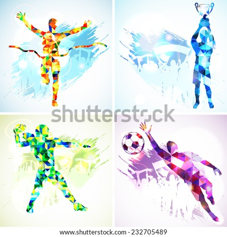 Set Silhouettes Soccer Player with Trophy, Winner, American Football Player and Goalkeeper in Mosaic Pattern and Fans on grunge background. - stock vector