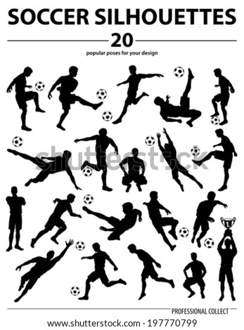 Set Silhouettes Soccer Players, Goalkeeper, Team Champion with Cup, Ball, vector isolated on white background - stock vector
