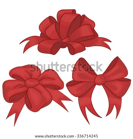 Set silk red bow with isolated. Vector design element. - stock vector