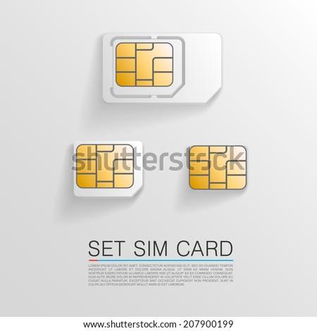 Set sim card. Vector illustration - stock vector