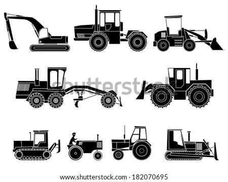 Set simple icon of tractors, bulldozers, excavators and grader in monochrome tone. - stock vector