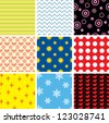 Set simple multicolor seamless patterns - stock vector