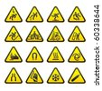 Set Simple of Triangular Warning Hazard Signs - stock photo