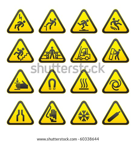 Set Simple of Triangular Warning Hazard Signs - stock vector