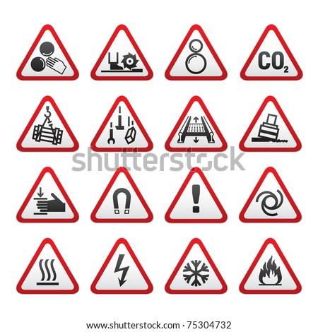 Set Simple of Triangular Warning Hazard Signs - stock vector