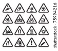 Set Simple of Triangular Warning Hazard Signs black - stock photo