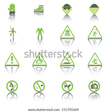 Set Simple of Warning Hazard Signs, Green Icons. - stock vector