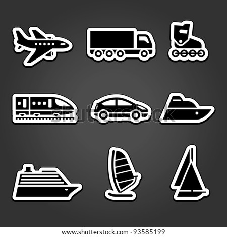 Set simple stickers transport icons - stock vector