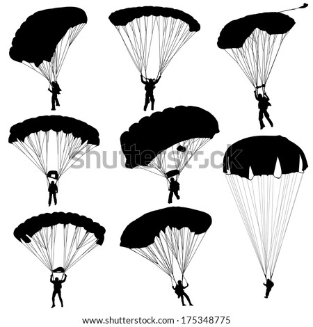 Set skydiver, silhouettes parachuting vector illustration - stock vector