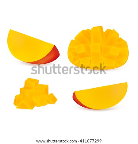 Set slices of mangoes isolated on white background. Realistic vector illustration. - stock vector
