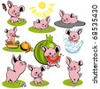 set small pink of piglets - stock vector