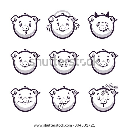 Set smiles pig. Monochrome emotions icons. Vector illustration on white background. - stock vector