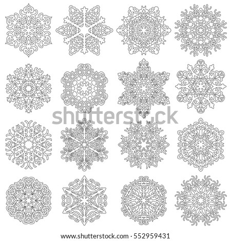 Set snowflakes icons on white background, vector illustration.