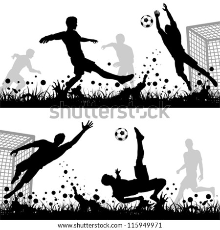 Set Soccer Silhouettes Players and Goalkeeper, isolated on white background, vector illustration - stock vector