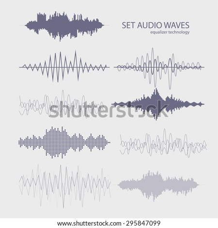 Set sound waves. Audio equalizer technology, pulse musical vector. - stock vector