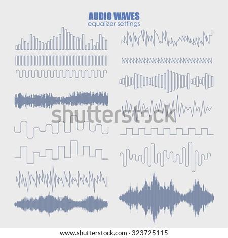 Set sound waves. Audio equalizer technology, pulse musical. Vector illustration - stock vector