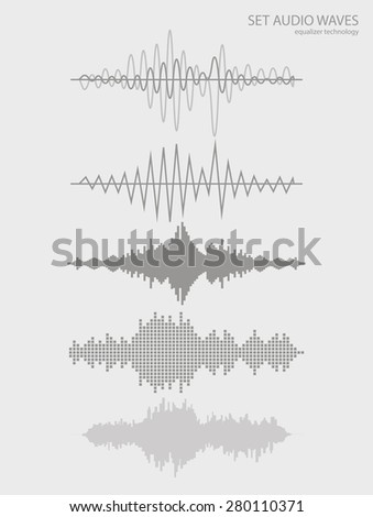 Set sound waves . Audio equalizer technology, pulse musical. Vector illustration charts, graphs, analysis. - stock vector