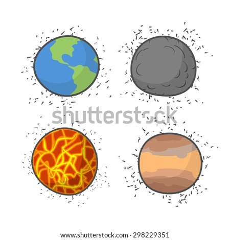 Set space planets and stars on a white background. Vector illustration.  - stock vector