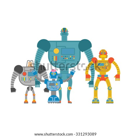 Set space robots. Cyborgs invaders. Humanoid machines with artificial intelligence and iron body. - stock vector