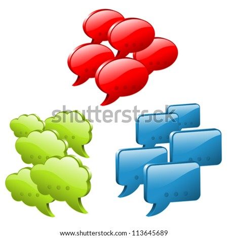 Set Speech and Thought Bubbles, social media concept, easy to change colors, vector illustration - stock vector