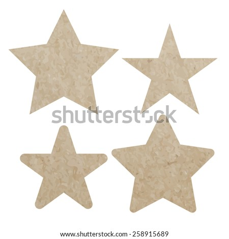 set star recycled paper craft on white paper background, vector illustration - stock vector