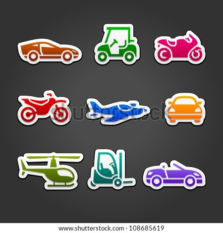 Set stickers transport color icons - stock vector