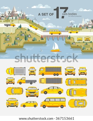 Set stock vector illustration cars, buildings with road, bridge, snow-capped mountains, park, field, tree, house, sailboat, wakeboarder near sea flat style element infographic, printed, website, icon - stock vector