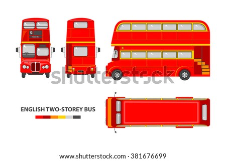 Set stock vector illustration isolated English red double-decker bus top, front, side, back view flat style white background Element infographic, website, icon - stock vector