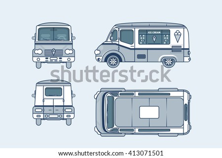 Set stock vector illustration isolated Ice cream car, Ice cream on wheels top, front, side, back view line style blue background Element info graphic, website, icon - stock vector