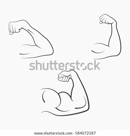 Set Strong Power Muscle Arms Stages Stock Vector Hd Royalty Free