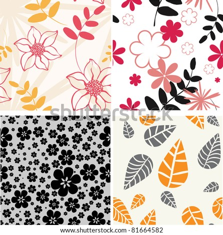 Set.  styled flowers- floral seamless pattern - stock vector