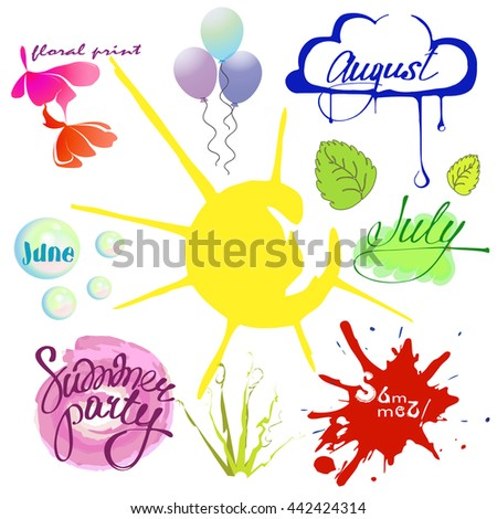 Set Summer Time June July August Stock Vector Royalty Free
