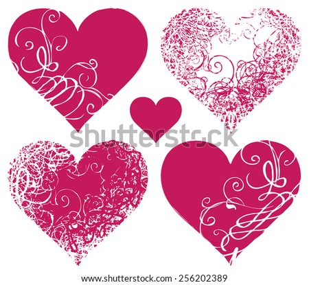 set symbols of hearts with floral ornament - stock vector