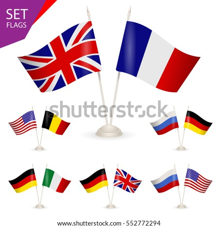 Set Table Stand Flags Symbolizing Cooperation Stock Vector 552772294 ...