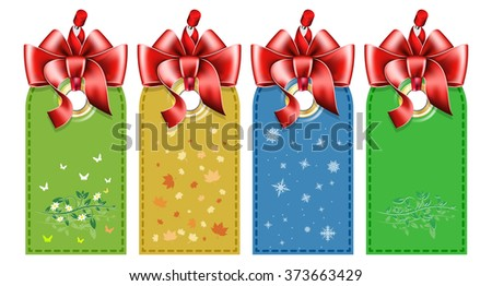 Set tag with bow - stock vector