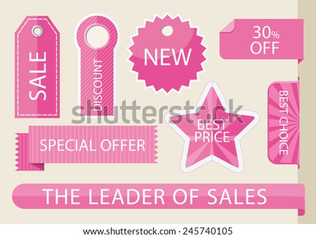 Set tags with ribbons and labels. Special offer, discount and percentages, price, banner. Leader of sale - stock vector
