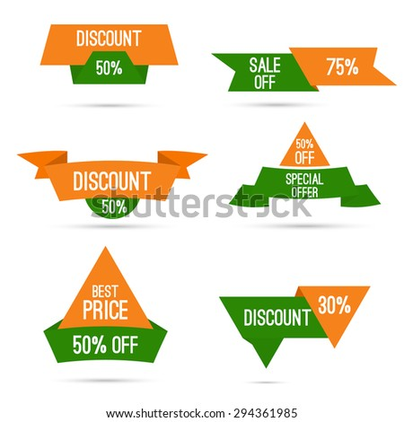 Set tags with ribbons and labels. special offer, discount and percentages, price. India's national colors, white, green, orange. Discounts for Independence Day and Republic Day of India - stock vector