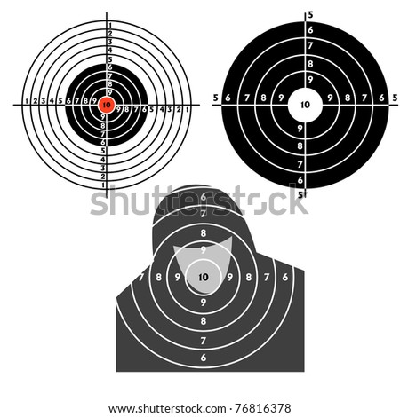 Set targets for practical pistol shooting, exercise. Vector illustration - stock vector