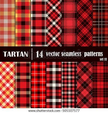 Set tartan seamless patterntrendy illustration for Red check wallpaper